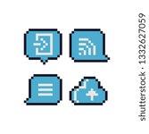 speech bubble and cloud pixel...   Shutterstock .eps vector #1332627059