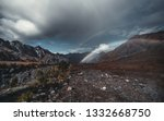 an amazing double rainbow in... | Shutterstock . vector #1332668750