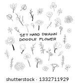 set of hand drawn flower doodle ... | Shutterstock .eps vector #1332711929