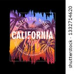 surfing in california. colorful ... | Shutterstock .eps vector #1332714620