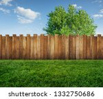 spring tree in backyard and... | Shutterstock . vector #1332750686