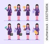 business woman brunette holds... | Shutterstock .eps vector #1332756836
