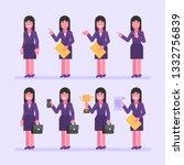 business woman brunette holds... | Shutterstock .eps vector #1332756839