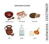 borscht  salo  rye bread  milk  ... | Shutterstock .eps vector #1332758639