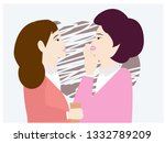 business woman whispers to her...   Shutterstock .eps vector #1332789209