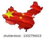 map on china waving flag. 3d... | Shutterstock . vector #1332796013