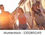 group of friends walking and... | Shutterstock . vector #1332801143
