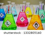 Many of erlenmeyer flask with...