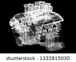 car engine architect blueprint  ... | Shutterstock . vector #1332815030