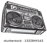 hand drawn retro boombox tape...   Shutterstock .eps vector #1332844163