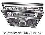 hand drawn retro boombox tape...   Shutterstock .eps vector #1332844169