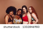 group of happy different size... | Shutterstock . vector #1332846983