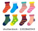 flat design colorful socks set...   Shutterstock .eps vector #1332860543