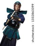portrait of man kendo fighter... | Shutterstock . vector #1332863399