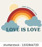 rainbow slogan vector print.... | Shutterstock .eps vector #1332866720