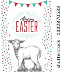 hand drawn easter card with... | Shutterstock .eps vector #1332870533
