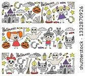halloween themed doodle set....   Shutterstock .eps vector #1332870926