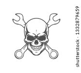 skull with wrenches. retro logo ... | Shutterstock .eps vector #1332879659