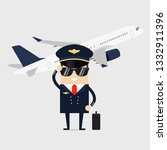 profession pilot of aircraft.... | Shutterstock .eps vector #1332911396