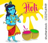 little lord krishna playing...   Shutterstock .eps vector #1332916949