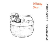 whiskey sour cocktail... | Shutterstock . vector #1332923069