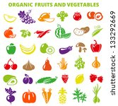 set of fruits and vegetables ... | Shutterstock .eps vector #133292669