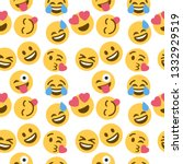 emoticon and emoji pattern ... | Shutterstock .eps vector #1332929519