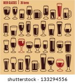 glasses icons set. beer glass...