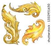 gold monogram floral ornament....   Shutterstock . vector #1332951650