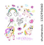 a set of 3 cute unicorns with...   Shutterstock .eps vector #1332956060