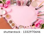 female beauty items on pink... | Shutterstock . vector #1332970646