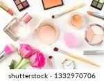 female beauty items on white... | Shutterstock . vector #1332970706