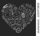 cinema pattern with vector... | Shutterstock .eps vector #1332973820