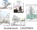 Set of landscapes with trees. Color vector sketches.