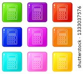 calculator icons set 9 color...