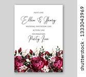burgundy rose floral wedding... | Shutterstock .eps vector #1333043969