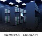 Modern Server Room Interior - stock photo