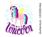 beautiful cute unicorn and...   Shutterstock .eps vector #1333081466