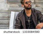 handsome attractive man smiling ... | Shutterstock . vector #1333084580
