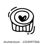 monoline cute muffin with heart.... | Shutterstock . vector #1333097006