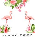 flamingo bird and plumeria... | Shutterstock .eps vector #1333136090