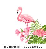 beautiful card with a wreath of ... | Shutterstock .eps vector #1333139636