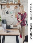 young woman freelancer indoors...   Shutterstock . vector #1333156916