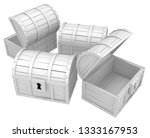 treasure chests white  3d... | Shutterstock . vector #1333167953