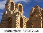 El jem old ruins in Tunisia - stock photo
