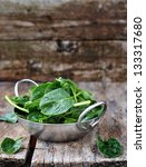 Fresh Green Spinach In To The...