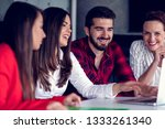 start up team of freelancers in ... | Shutterstock . vector #1333261340