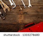set of old rusty tools on... | Shutterstock . vector #1333278680