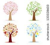 Set Of Colorful Season Tree...