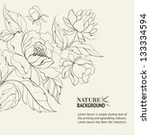 ink painting of peony. | Shutterstock .eps vector #133334594